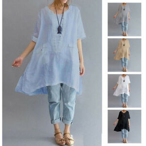 Womens-Summer-Short-Sleeve-Irregular-Cotton-Linen-Tops-T-shirt-Blouse-Plus-Size
