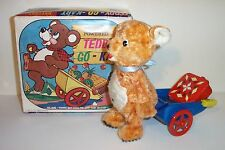 MINT 1960's BATTERY OPERATED TEDDY-GO-KART TIN LITHO BEAR TOY ALPS MIB *nice*