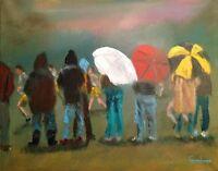 "LEON GOODMAN ORIGINAL ""Umbrella Town"" OIL ON CANVAS Rainy day PAINTING"