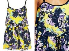 RIVER ISLAND pretty yellow floral crepe strappy summer playsuit romper size 10