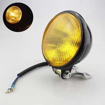 "Motorcycle Yellow 5"" Bulb Headlight Head Lamp For Harley Chopper Touring Honda"