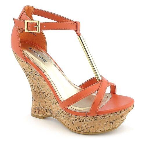 Colorful Strappy Open toe Cork Flip Flop Platform Wedges Heels Sandals Size W3