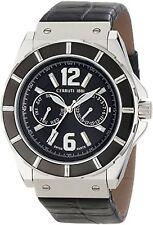 NEW Cerruti 1881 CRA015E222H Men's La Montre Black Dial Black Strap Silver Watch