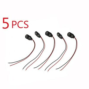 5x-PP3-9V-Battery-Leather-Snap-on-Connector-Clip-Tinned-Wire-Leads-TYPE-B-1-X7T0