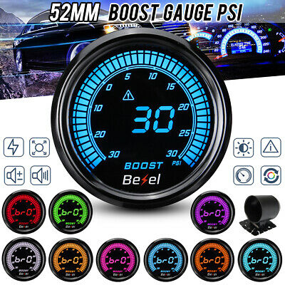 "Car Gauge Boost Set 2/"" Meter Auto 52mm Universal LED Digital 12V Turbo Parts"