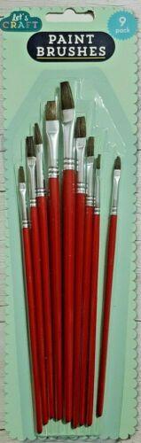 acryliques Huiles aquarelle de bonne qualité pinceaux 9 x Flat Artist Brush Set