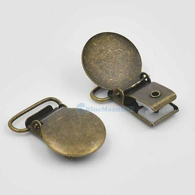 """Suspender Mitten Clip 3//4/"""" 19mm Round Webbing Hook Paci Pacifier Bronze BM"""
