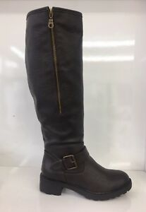 WOMENS-LADIES-FAUX-LEATHER-FLEECE-BROWN-KNEE-HIGH-MID-BLOCK-HEEL-BOOTS-SIZE-5