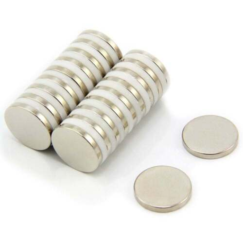 1.8kg Pull Pack of 10 15mm dia x 2mm thick N35 Neodymium Magnet