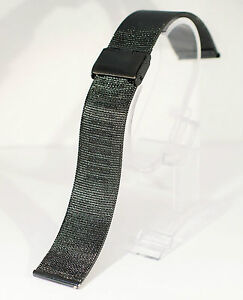 Stainless-steel-Black-mesh-watch-strap-bracelet-18-20-22-24