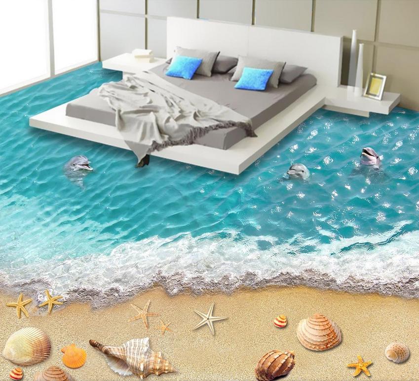 3D Blau water shell 012 Floor WallPaper Murals Wall Print Decal 5D AJ WALLPAPER
