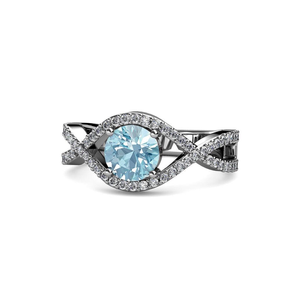Aquamarine & Diamond Twisted Engagement Ring 1.65 ctw 10K White gold JP 109145