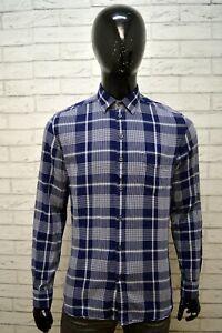 Camicia-Blu-Uomo-DIESEL-Taglia-L-Hemd-Shirt-Man-Polo-Maglia-Manica-Lunga