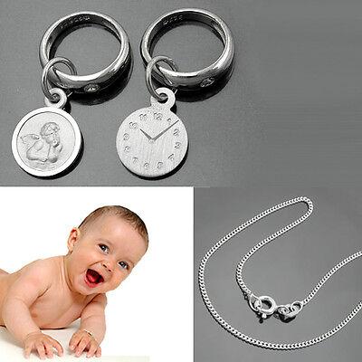 Schutz Engel Taufring mit Geburtsuhr und Uhrzeit Gravur /& Kette Echt Silber 925