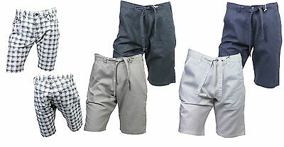 Mens Cotton Designer Casual Summer Cargo Linen Chino Shorts Bottoms 28 - 38 inch