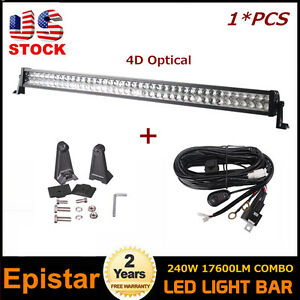4D-Lens-42in-240W-LED-Light-Bar-Combo-Beam-Off-Road-4WD-SUV-JEEP-Harness-kit