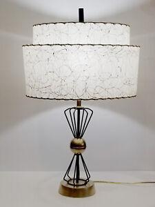 Vintage-Mid-Century-Modern-Atomic-Eames-Era-Lamp-with-2-Tier-Fiberglass-Shade