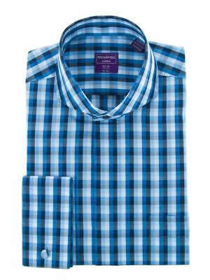 Modena Mens Plaid Cutaway Collar Dress Shirt