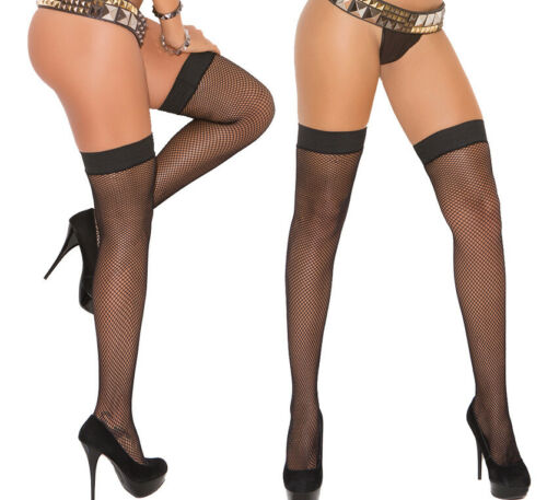 Elegant Moments Black Fishnet Thigh High Silicone Grip Stay Ups Stockings