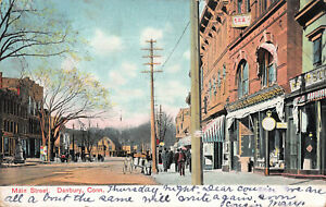 Scene-of-Main-Street-Danbury-Connecticut-Early-Postcard-Used-in-1907