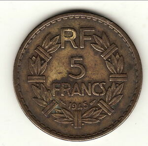 à Condition De 5 Francs Bronze Alu 1945 A Saisir !