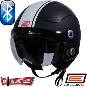 ORIGINE-BLUETOOTH-MATTE-FLAT-BLACK-WHITE-OPEN-FACE-MOTORCYCLE-HELMET-DOT-XS-XL