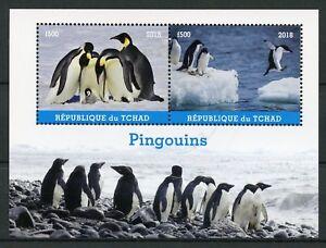 Chad-2018-CTO-PINGUINI-PINGUINO-IMPERATORE-2-V-M-S-pingouins-birds-stamps