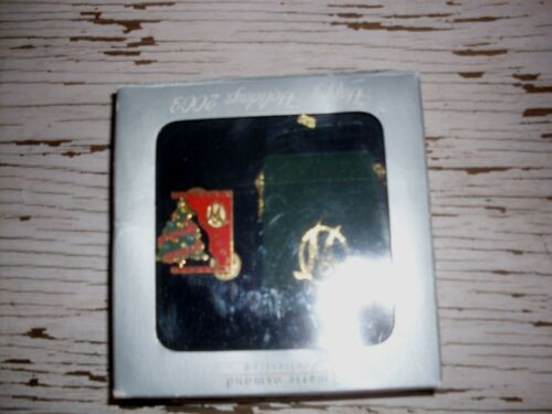Marie Osmond Collection Happy Holidays 2003 broch pin with tiny pouch VGUC