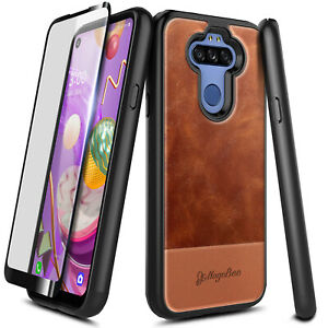For LG Fortune 3/Risio 4 Case, Leather Phone Cover With Tempered Glass Protector