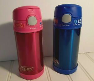 Funtainer Thermos Stainless Steel Bottle With Straw Set Of 2 Pink & Blue *New*