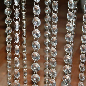 Clear-Crystal-Chandelier-Lamp-Parts-Octagonal-Beads-Chain-Wedding-Home-Decor-DIY