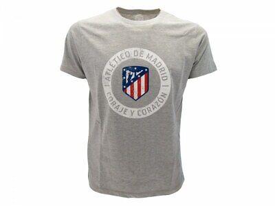T-shirt Atletico Madrid Ufficiale Originale Grigia Nuovo Logo Atm Coraje Corazon I Consumatori Prima