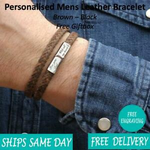 Budapest-Brown-Leather-amp-Stainless-Steel-Mens-Personalised-Engraved-Bracelet