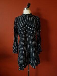 0a783a2ce2 NEW ZARA BLACK WHITE POLKA DOT MINI FLOWY DRESS HIGH NECK FRILLED ...