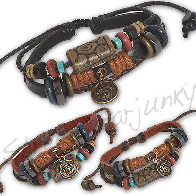 ★Surfer Bettlerarmband im Maori Tiki Leder Styl Unisex Bracelet Leather A302★