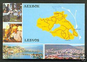 Map postcard Lesvos Lesbos Greece with stamp eBay