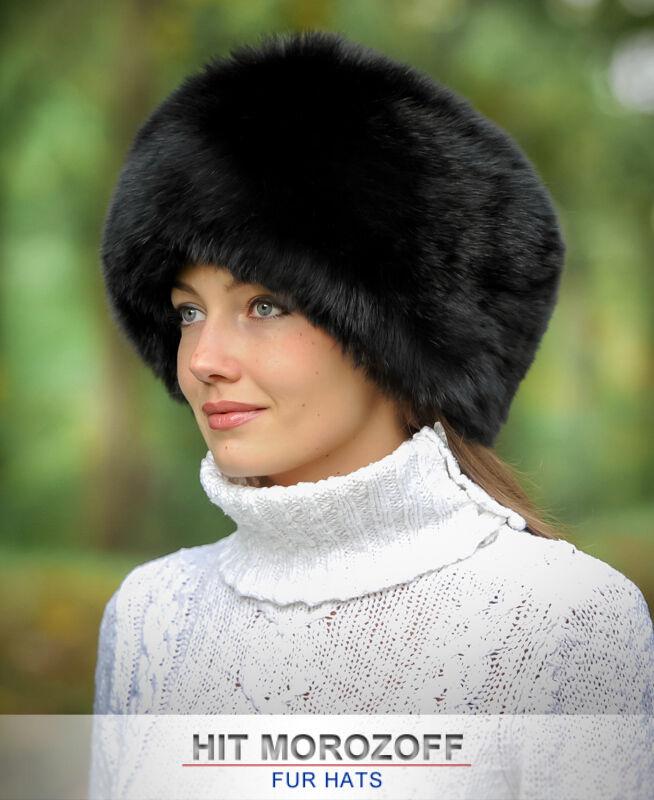 SCHWARTZ FUCHS Pelzmütze Wintermütze Schapka Damen Fellmütze Fox Fur Fur Fur Hat Mütze 7357fd