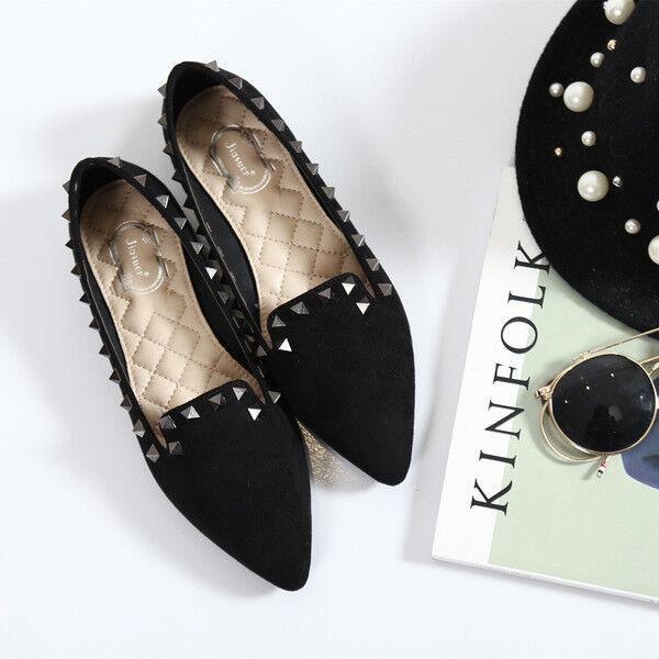 Bailarinas mocasines zapatos de mujer elegantes negro cómodo talón 2.5 cm cómodo negro 1382 3b9591