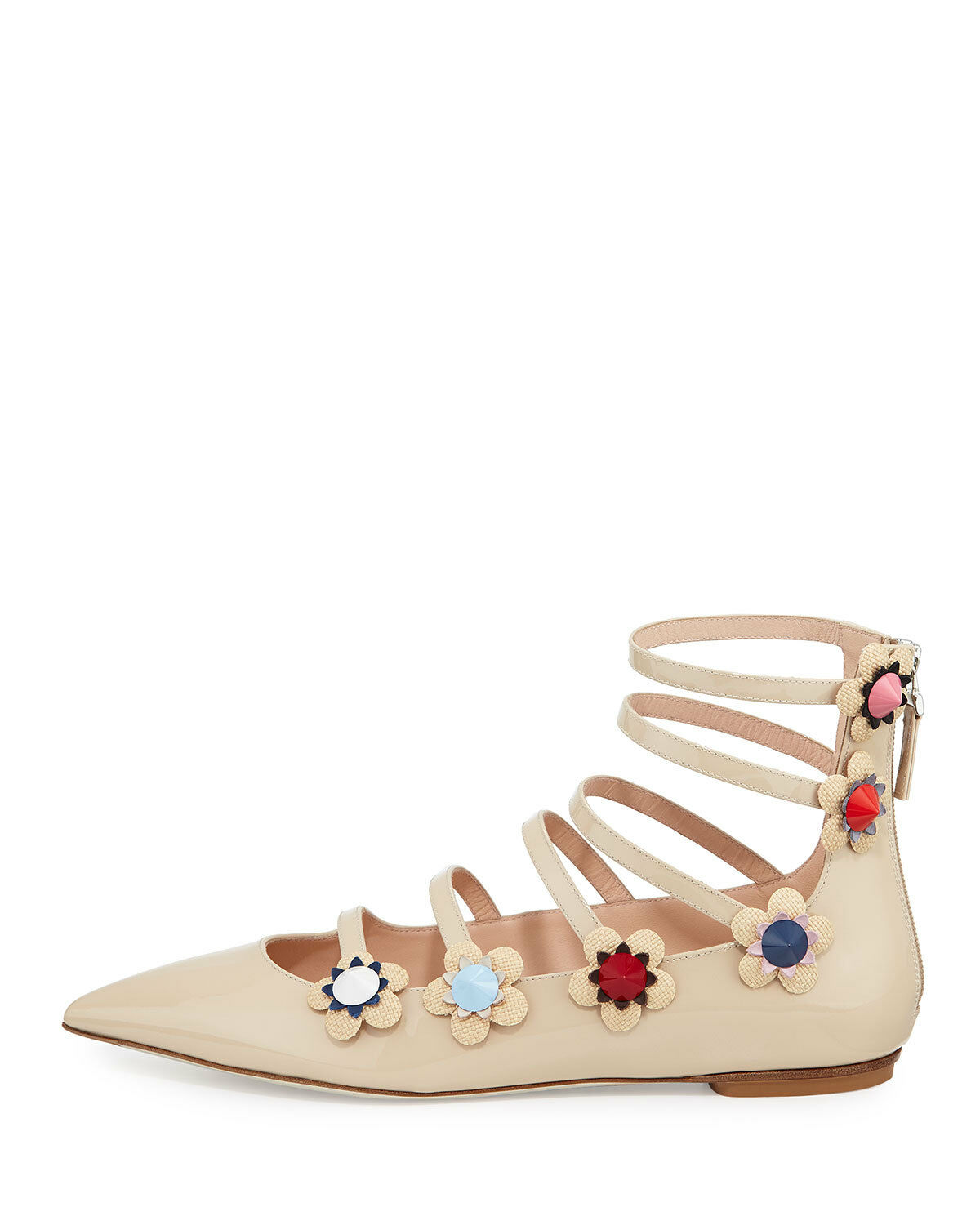 Fendi Flowerland Pointy Toe Toe Toe Flats Ballet chaussures 36.5 Nude Pumps Gladiator Beige bacbd0