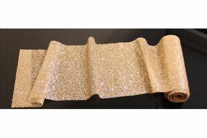 Glitzernder Tischläufer golden, Tischdeko, Tischband, Gold, Länge ca. 3 Meter