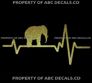 VRS-HEART-BEAT-LINE-ANIMAL-Elephant-Baby-w-Ivory-Tusk-Trunk-CAR-METAL-DECAL