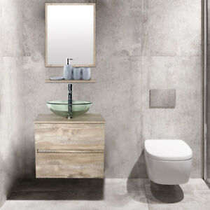 24 Bathroom Vanity W Tempered Clear Glass Vessel Sink Wall Mounted Combo Naturl Ebay
