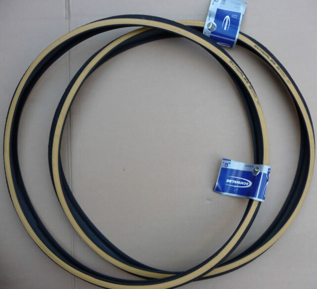 Pair SCHWALBE 27 X 1 1/4 Cycle Amber Wall Walled Tyres Vintage Retro Bicycles