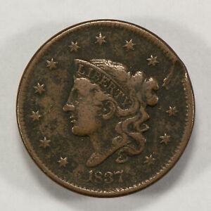 1837 1c Coronet Head Large Cent - Mid-Grade Details - SKU-Y2553