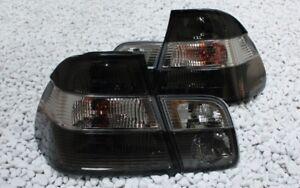 KLARGLAS-RUCKLEUCHTEN-SET-BMW-E46-3er-LIMOUSINE-98-05-CHROM-SCHWARZ-SMOKE-BLACK