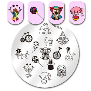 NICOLE-DIARY-Stamping-Plate-Clown-Lollipops-Magic-Nail-Art-Image-Plate