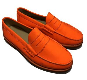 NEW-CARVEN-MEN-039-S-NEON-ORANGE-LEATHER-LOAFERS-42-695