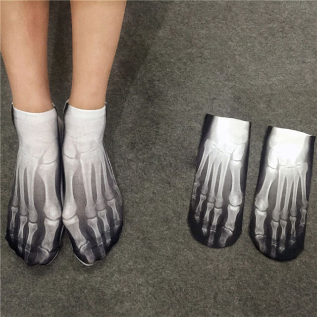3D Printed Men Women Fashion Harajuku Low Cut Ankle Socks Cotton Skull Feet