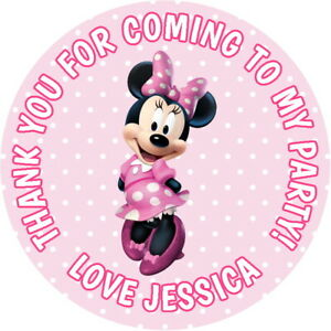 Personalised Minnie Mouse Labels 37mm Stickers Birthday Party Thank You 009