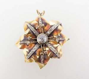 ANTIQUE-18ct-GOLD-ENAMEL-AND-OLD-CUT-1-12ct-DIAMOND-FLOWER-PENDANT-VAL-10770